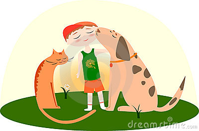 Best friends, boy with a dog and cat