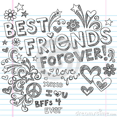 Free Best Friends Forever Sketchy Notebook Doodles Royalty Free Stock Photo - 25834965