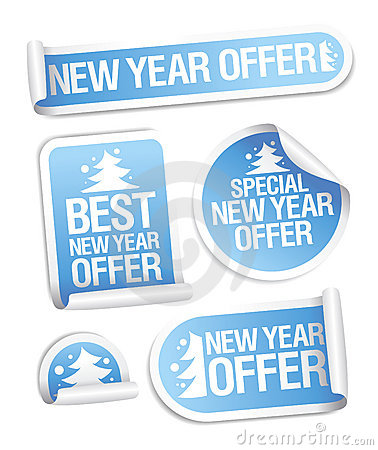 Best New Year offer stickers.