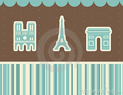 Best Paris sights. Vector illustration.