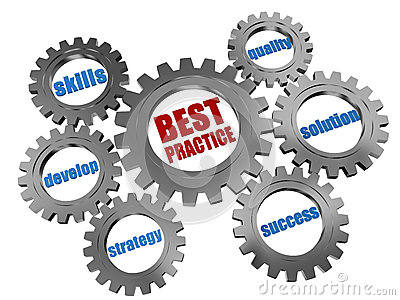 Best practice - business concept silver gearwheels