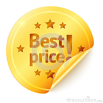 Best price isolated golden vector sticker