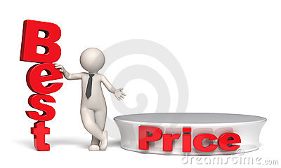 Best price offer with stage and copyspace - 3d man