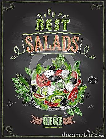 Best salads here, chalkboard menu with greek salad Vector Illustration