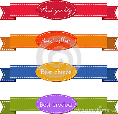 Bestseller. Set of Red Superior Quality and Satisfaction Guarantee Ribbons, Labels, Tags. Retro vintage style