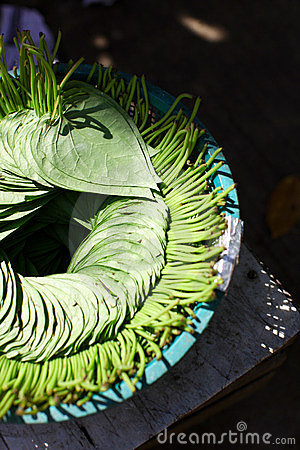 Betel leaves for chewing arranged in the market in
