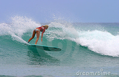 Bethany Hamilton Surfing in Hawaii Editorial Photography