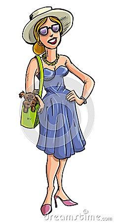 Betoverende dame die een hond in haar zak dragen