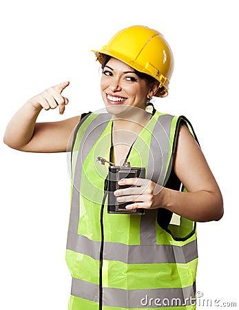 Betrunkene Alkohol-Sicherheits-Frau