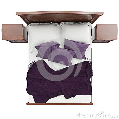 bett mit kissen und deckenabdeckung draufsicht stock abbildung bild 62522877. Black Bedroom Furniture Sets. Home Design Ideas