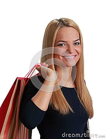 Kvinnan med shopping hänger lös