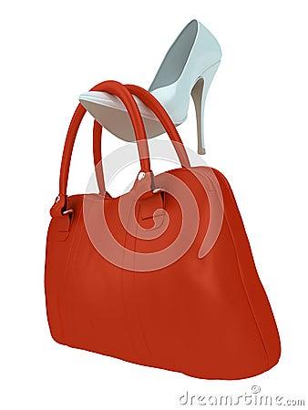 Die Tasche und der Schuh der Frauen