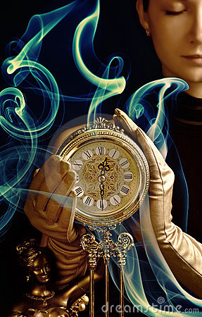 Beutiful girl with a clock
