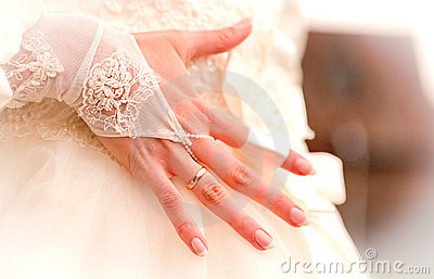 Beutiful hand of fiancee