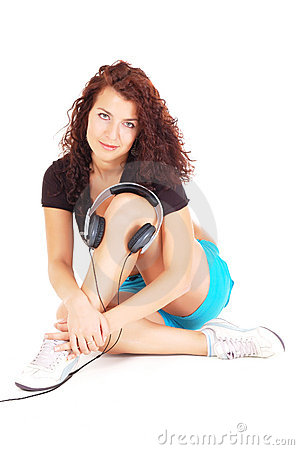 Beutiful woman with headphones