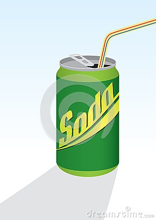 Beverage can with straw; green