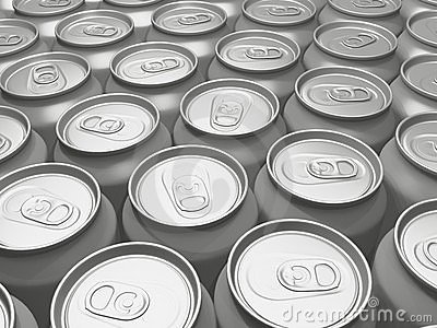Beverage cans in a row