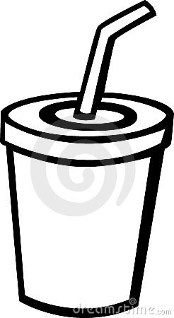 beverage with drinking straw vector illustration