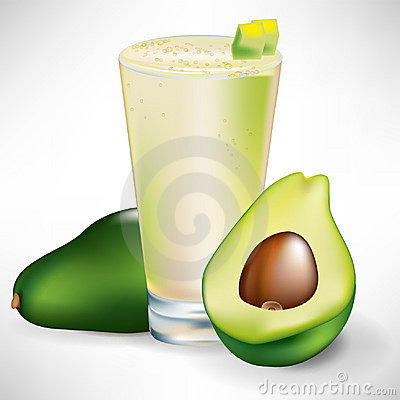 Beverage with fresh avocado fruit and slice