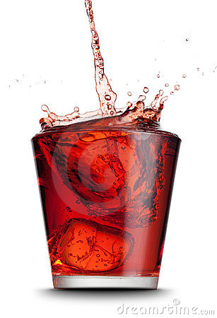 Beverage poured into glass