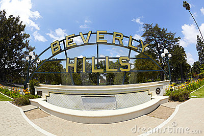 Beverly Hills Park Fountain and Sign