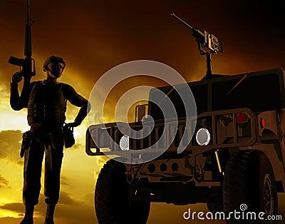 Beväpnad soldat