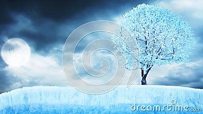 Bevroren boom op ijs onder maan met wolken