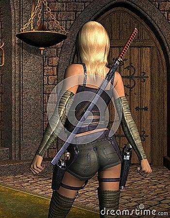 Bewaffnete junge Frau von hinten