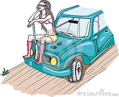 Bewaffnetes Mädchen, das auf einem Auto sitzt
