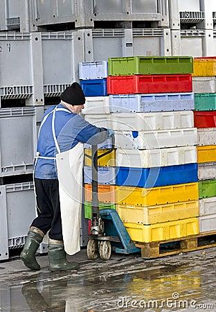 Bewegende dozen in koelhuis