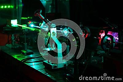Bewegung der Mikroteilchen durch Lichtstrahlen von Laser