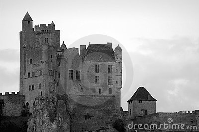 Beynac Medieval Castle Black and White
