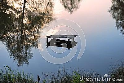 Bezinning in spiegel van meer