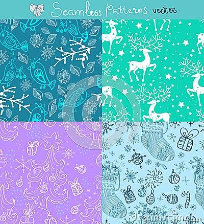 Bezszwowy doodle tła set