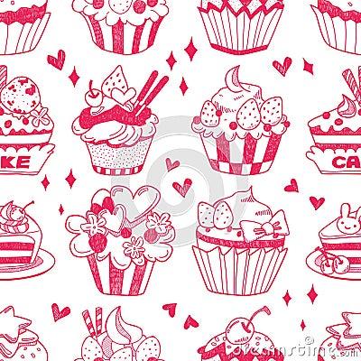 Bezszwowy doodle torta wzór
