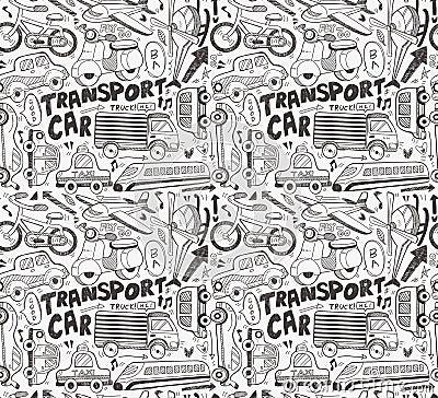 Bezszwowy doodle transportu wzór