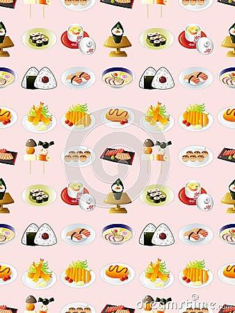 Bezszwowy Japoński jedzenie wzór
