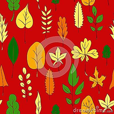 Bezszwowy wektoru wzór z liśćmi