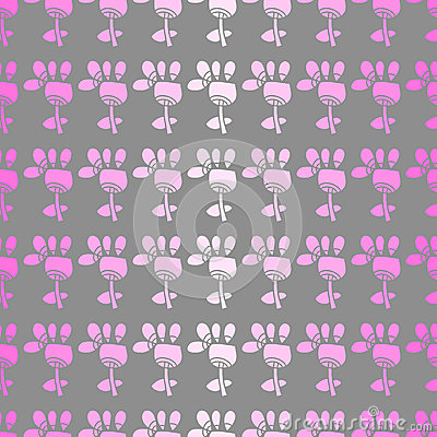 Bezszwowy wzór z kwiatami na popielatym tle