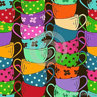 Bezszwowy wzór herbaciane filiżanki
