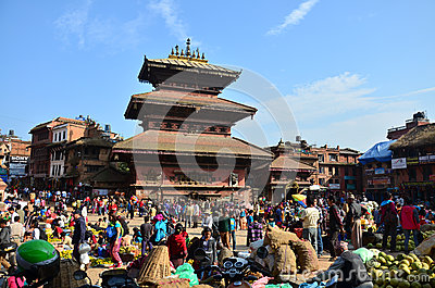 Bhaktapur Durbar Square market for tour and shopping Editorial Stock Image