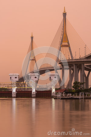 Bhumibol Bridge,the Industrial Ring Bridge at dawn