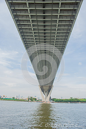 Free Bhumibol Bridge Or Bridge Of Industrial Rings Is Concrete Highway Overpass And Cross The Chao Phraya River, Thailand. Stock Photography - 82020072