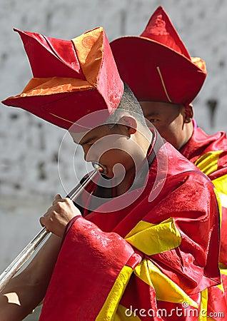 Bhutan - Musician at the Paro Tsechu Editorial Stock Image