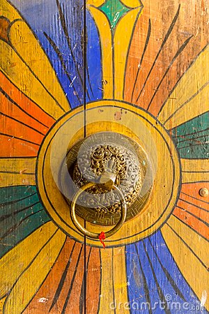 Free Bhutanese Door Knob At Trongsa Dzong Stock Images - 110551124