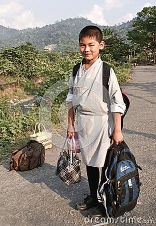 A bhutanese school boy Editorial Stock Photo
