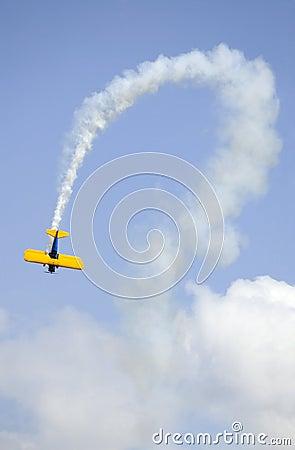 Bi-plane and Curved Smoke Trail