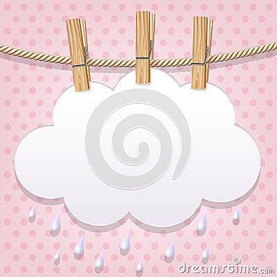 Białego papieru chmura na clothesline