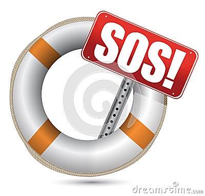 Bóia de vida com sinal do SOS