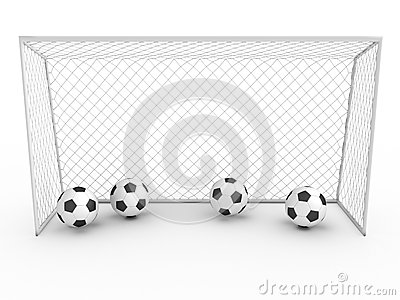 Biały futbolowy cel -3